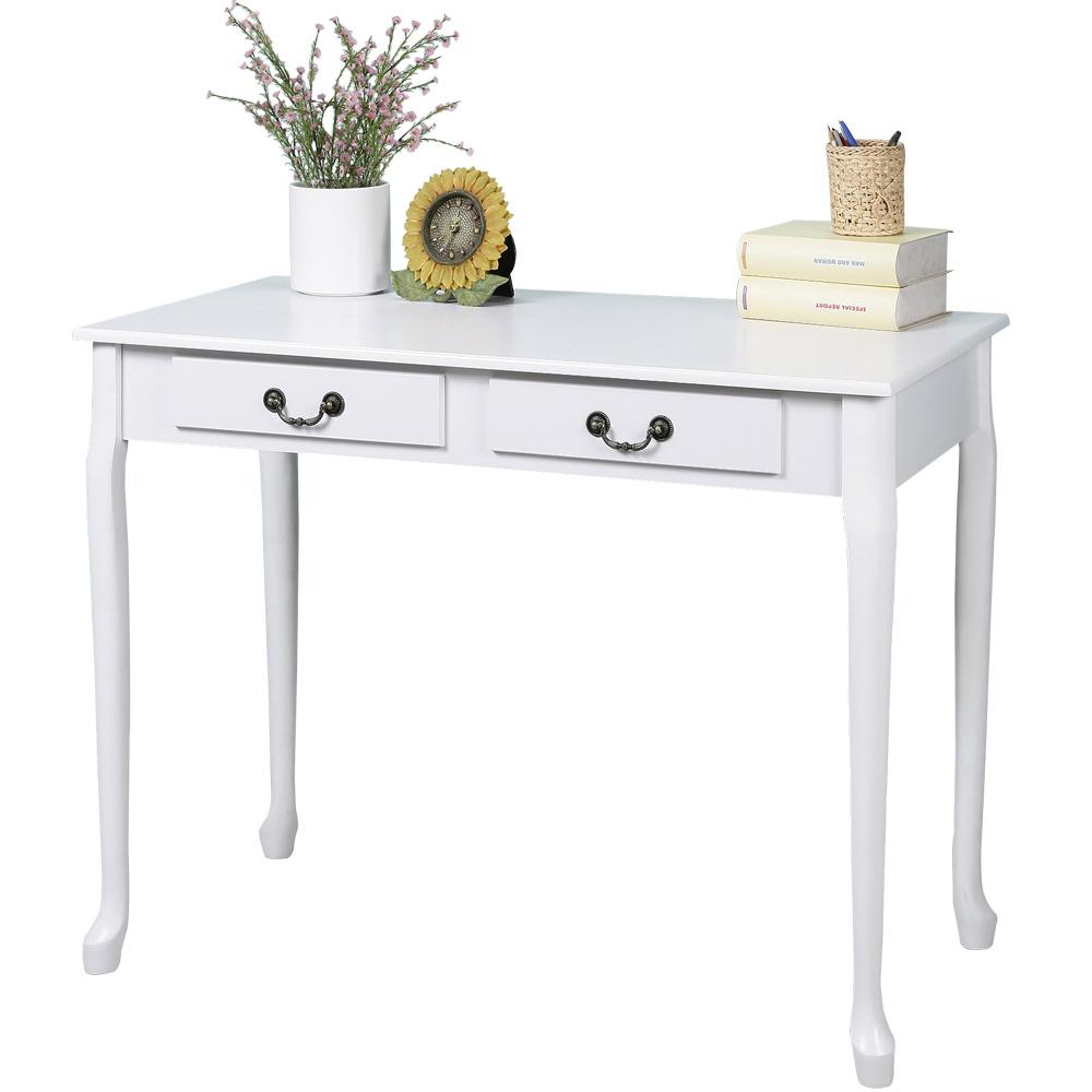 Homelike 典雅歐風二抽書桌-純白