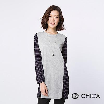 CHICA 清新日常異材質拼接長版上衣(2色)
