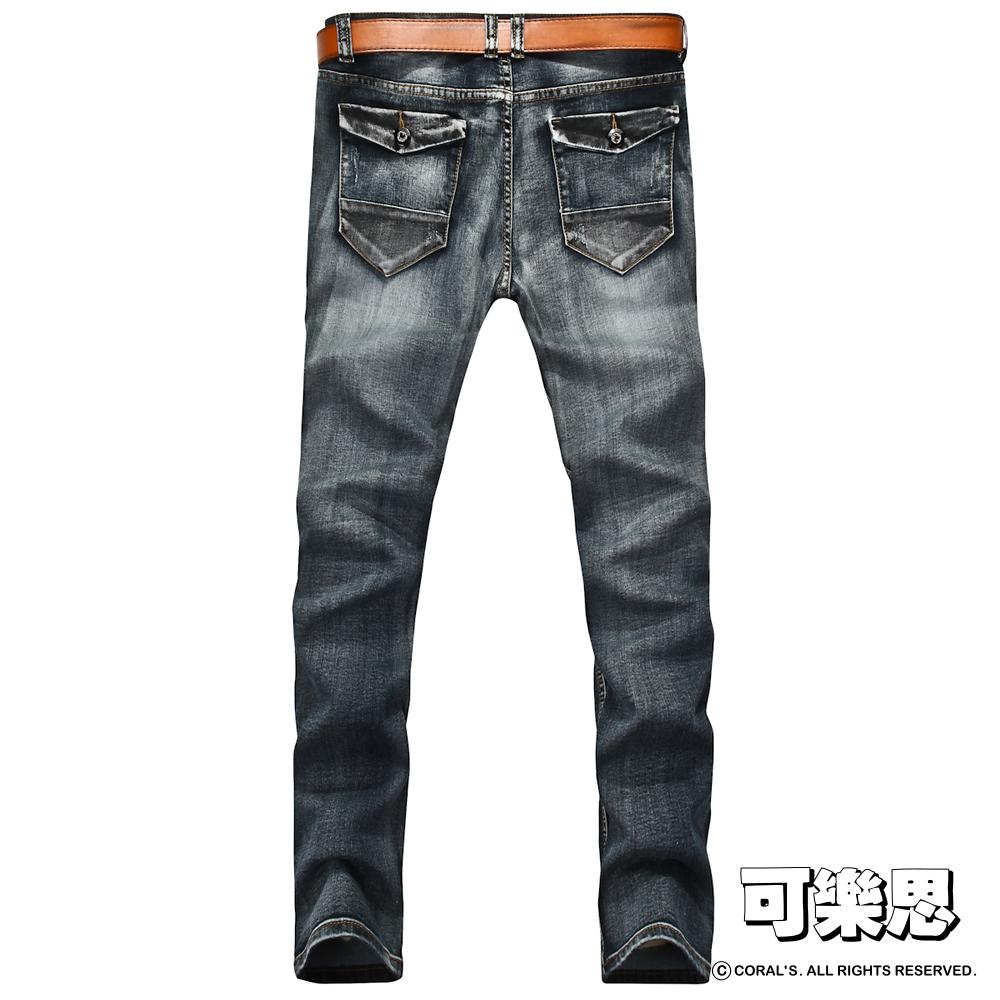 可樂思 雙色拼接口袋設計刷色牛仔褲