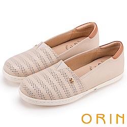 ORIN 引出度假氣氛 牛皮打洞後跟加厚平底便鞋-膚色
