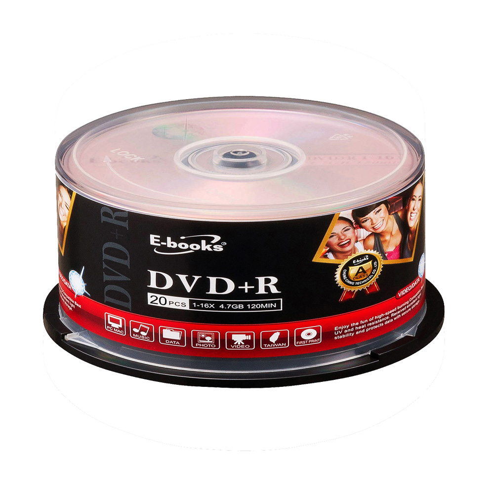 E-books 國際版 16X DVD+R 20片桶