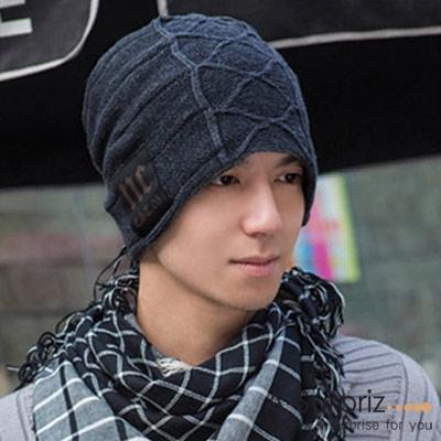 A-Surpriz 時尚NC徽章刷毛針織帽(灰)
