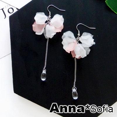AnnaSofia 霧透層雙色花瓣 大型耳針耳環(粉白系)