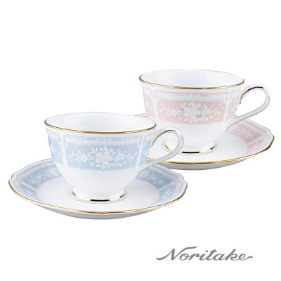 Noritake 蕾絲慕咖啡對杯盒裝組(藍+粉)