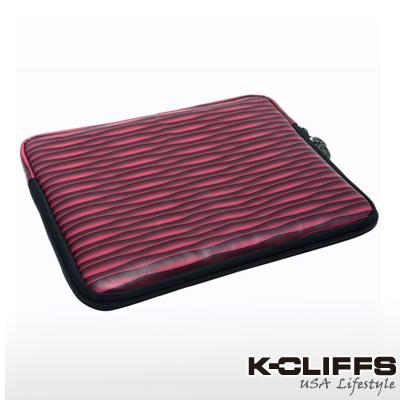 美國K-CLIFFS~條紋系列筆電防震包(9.7吋)-迷幻紅