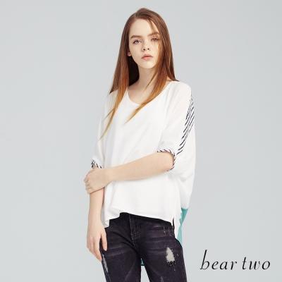 beartwo前短後長落肩拼接雪紡上衣(白色)-動態show