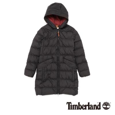 Timberland 女款黑色長版霧面羽絨外套