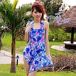 【AngelLuna日本泳裝】渲染印花三件式比基尼泳衣-藍色