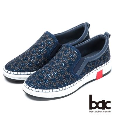 bac時尚休閒 水鑽排列厚底休閒鞋-藍色