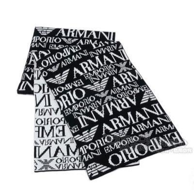 Emporio Armani 雙面織紋LOGO羊毛圍巾-黑/白