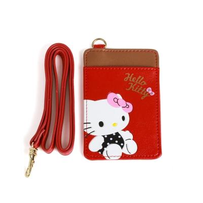 Sanrio-HELLO-KITTY可愛姿態壓印PU皮革車票證件套附掛帶