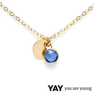 YAY You Are Young 法國品牌 Sultane 灰藍水晶項鍊 金色