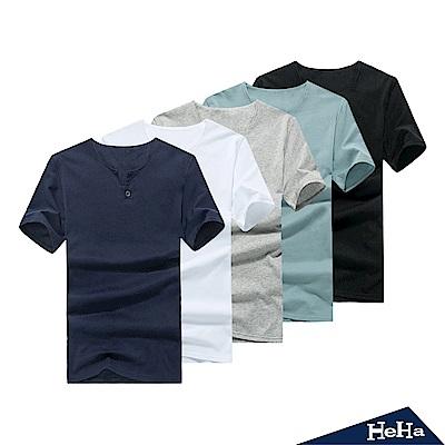 短袖V領造型單釦T恤 五色-HeHa