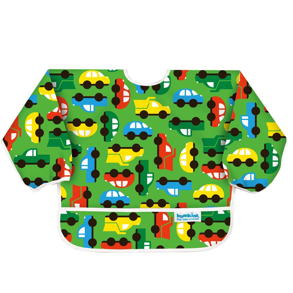 【美國Bumkins】小童長袖防水圍兜-彩色車車BKSU-227