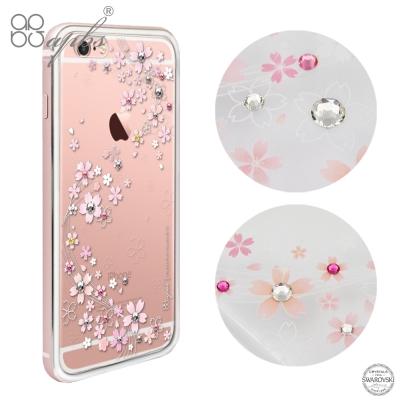 apbs iPhone6s/6 PLUS 施華洛世奇彩鑽金屬框手機殼-玫瑰金天籟...