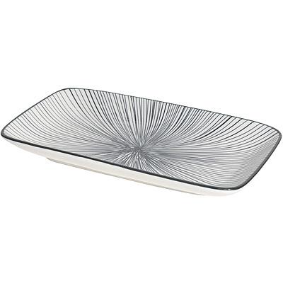 NOW 長方淺餐盤(射線黑22cm)