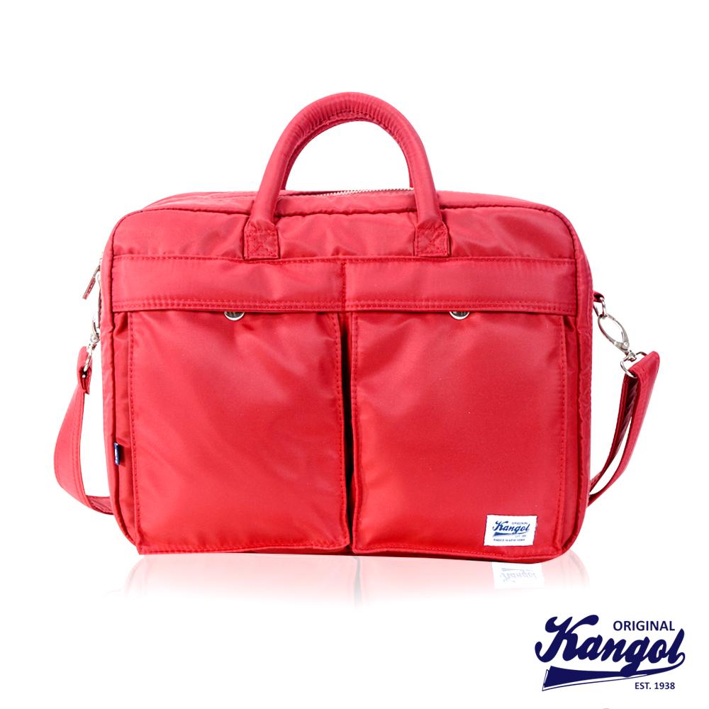 KANGOL 英式時尚輕時尚休閒大空間公事包防潑水尼龍 斜側包-紅