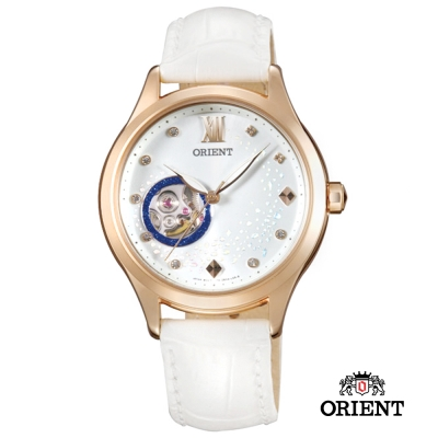 ORIENT 東方錶 HAPPY STREAM系列 藍月奇蹟小鏤空機械女錶-玫瑰金37mm