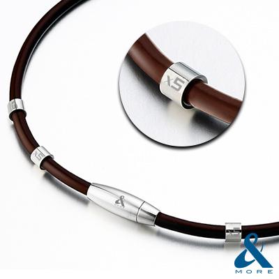 &MORE愛迪莫-MEGA POWER第Ⅱ代4厘米超濃鍺鈦項鍊-特仕版(咖啡)