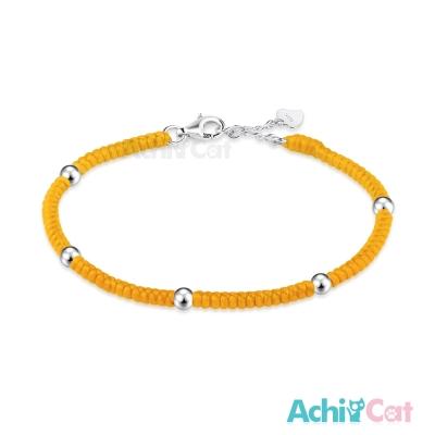AchiCat 蠶絲蠟繩手鍊 925純銀 五福臨門(黃色)
