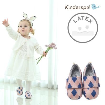 Kinderspel 輕柔細緻 棉花糖休閒學步鞋(英倫粉菱格)