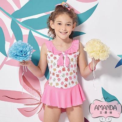 AMANDA 女童泳裝 連身裙-粉甜姐-4802附帽