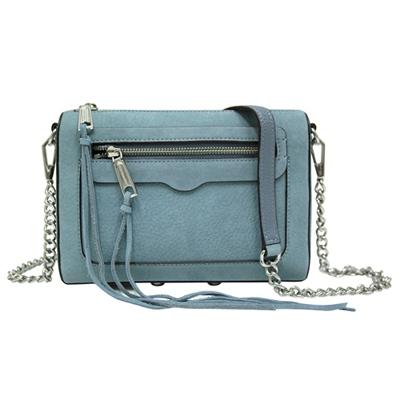 REBECCA MINKOFF AVERY 麂皮鍊帶斜背包-灰藍色
