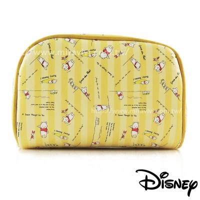 Disney迪士尼小熊維尼方型皮革化妝包/萬用包-維尼與小豬