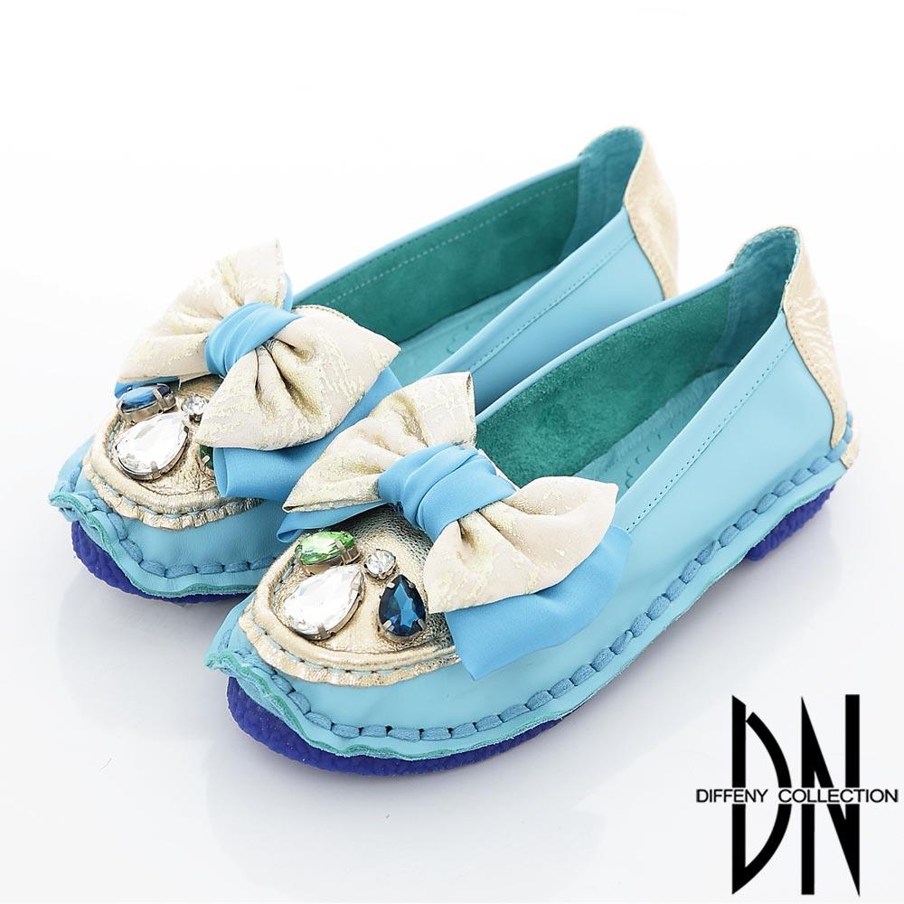 DN 宮廷逸品 完美寶飾蝴蝶緞帶舒適包鞋 藍 @ Y!購物