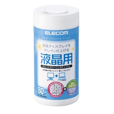 ELECOM 液晶螢幕擦拭巾(無酒精)-80P