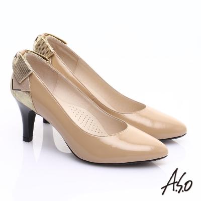 A.S.O 甜蜜樂章 全真皮後跟蝴蝶結尖楦高跟鞋 卡其