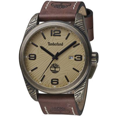 Timberland 木林遍野時尚腕錶-米黃/46mm