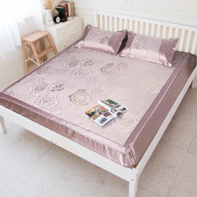米夢家居-晶粉玫瑰紙纖冰絲涼蓆床包組-單人加大<b>3</b>.<b>5</b>尺