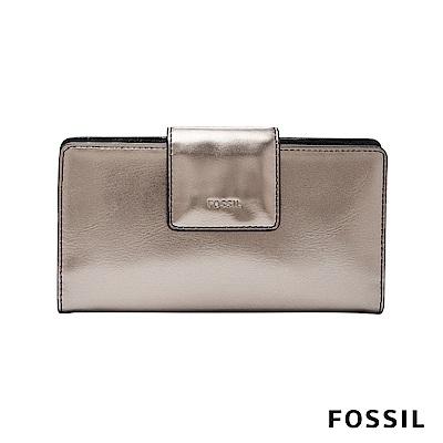 FOSSIL EMMA真皮搭扣中長夾-金屬棕灰