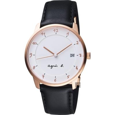 agnes b. 法國時尚藝術腕錶(BS9001J1)-白x玫塊金框/38mm