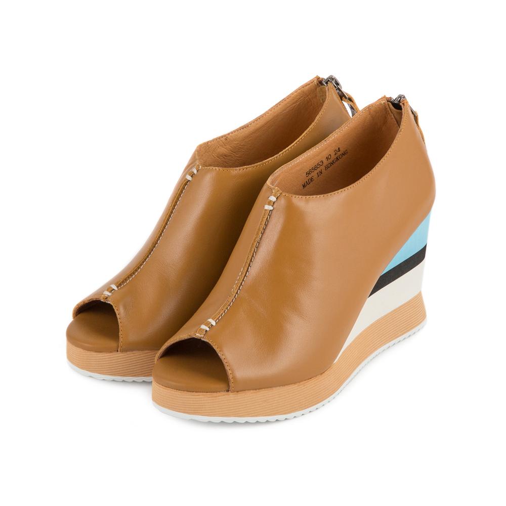 TAS 魚口牛皮配色發泡底台楔型鞋-焦糖棕