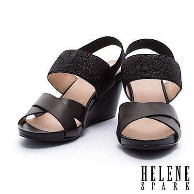 涼鞋 HELENE SPARK 摩登質感異材質設計交叉字帶楔型高跟涼鞋-黑