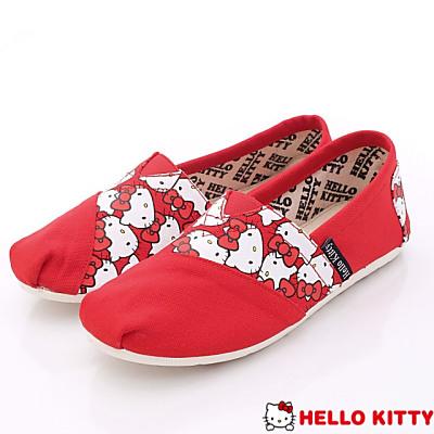 Hello Kitty-LOGO印花休閒便鞋款-915129紅(女段)