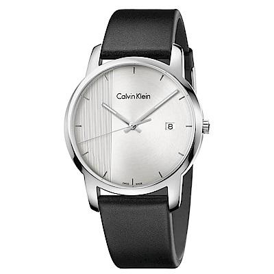 CK CALVIN KLEIN City都會系列大三針錶日期手錶-43mm