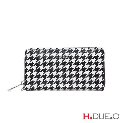 【義大利H.DUE.O】黑白千鳥格紋拉鍊長夾