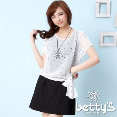 betty-s貝蒂思-側身蝴蝶結圓點雪紡兩件式洋裝