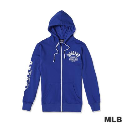 MLB-洛杉磯道奇隊連帽繡印花厚外套-藍色男