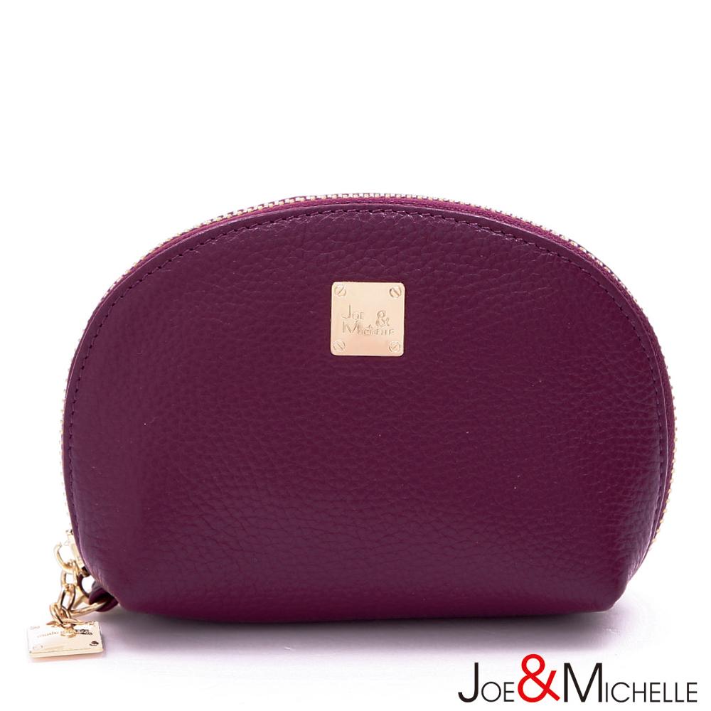 J&M 真皮莉絲貝殼手拿零錢包  桑葚紫