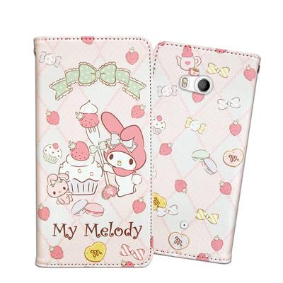 三麗鷗授權 My Melody美樂蒂 HTC U11 甜心彩繪磁扣皮套(草莓甜點...