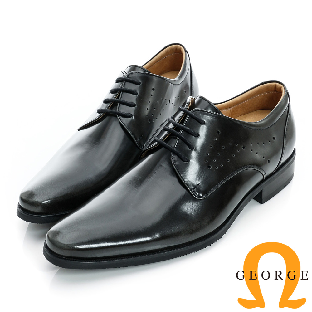 GEORGE-魔鬼沾皮帶素面真皮方頭鞋-灰色