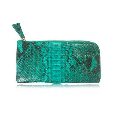 ACUBY 限量單品手工蛇皮L型長夾/原野綠