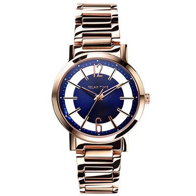 RELAX TIME 輕熟奢華風格鏤空錶款-藍x玫/36mm