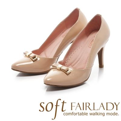 Fair Lady Soft芯太軟 立體典雅蝴蝶結尖頭高跟鞋 卡其