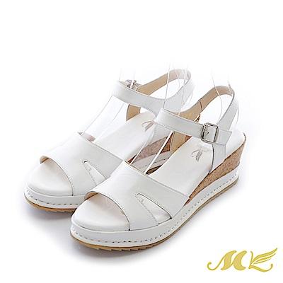 MK-台灣全真皮-素面軟木貼皮厚底楔型涼鞋-白色