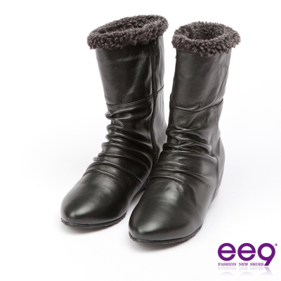 ee9 MIT經典手工~質感簡約抓皺內增高百搭中筒靴*黑色